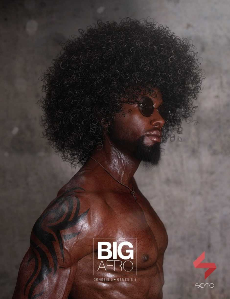 Big Afro Hair for Genesis 3 and 8