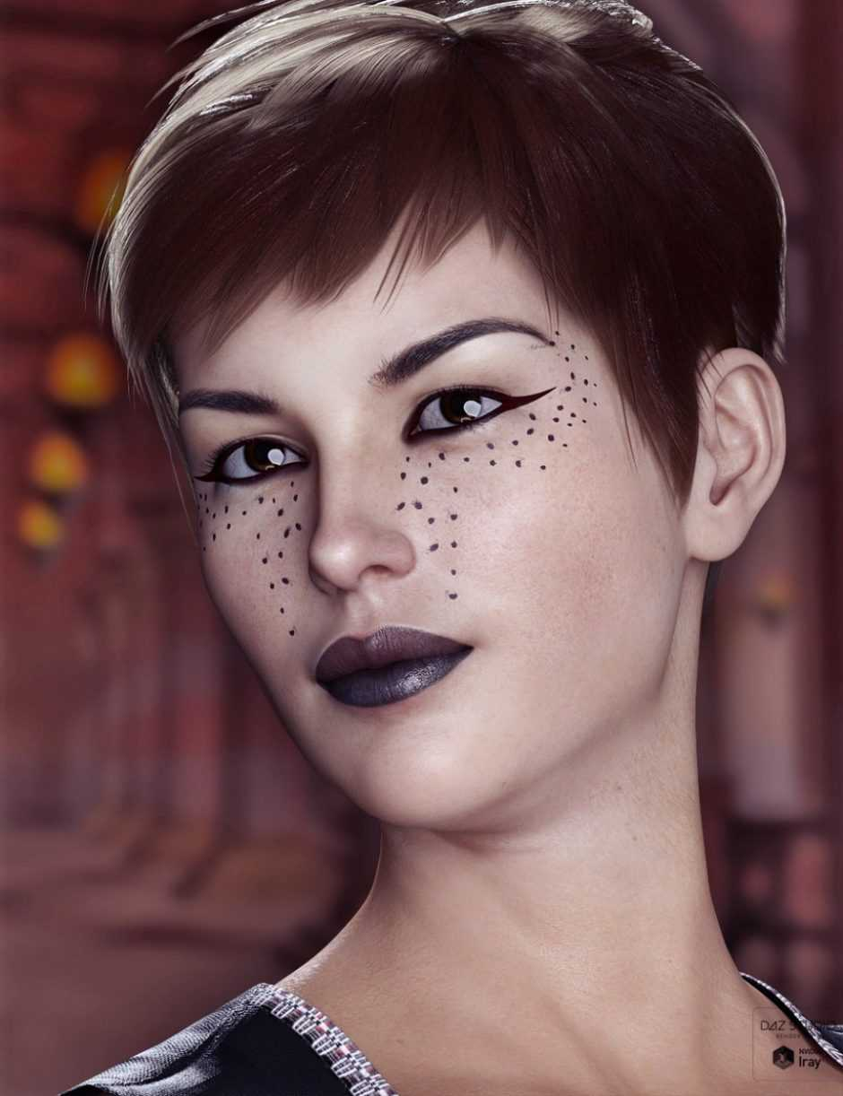 Extreme Closeup Smokey Rebel Makeup for Genesis 3 and 8 Female(s)