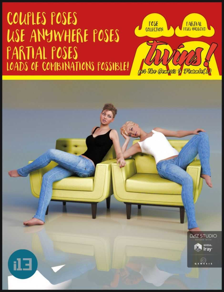 i13 Twins! Pose Collection for the Genesis 3 Female(s)