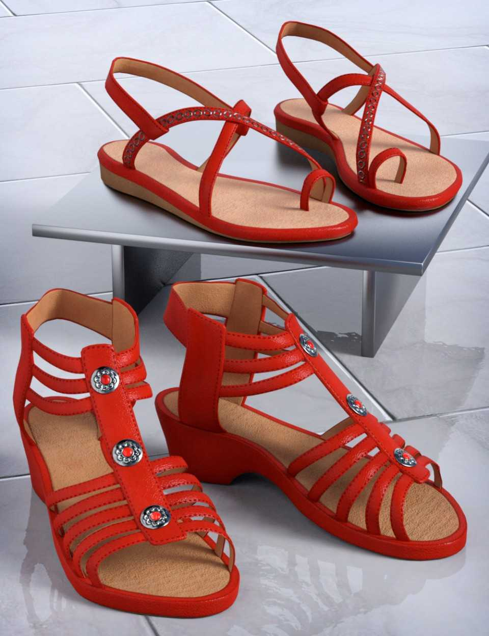 Patchwork Shoes Sandals 1 & 2 for Genesis 3 Female(s) and Genesis 8 Female(s)
