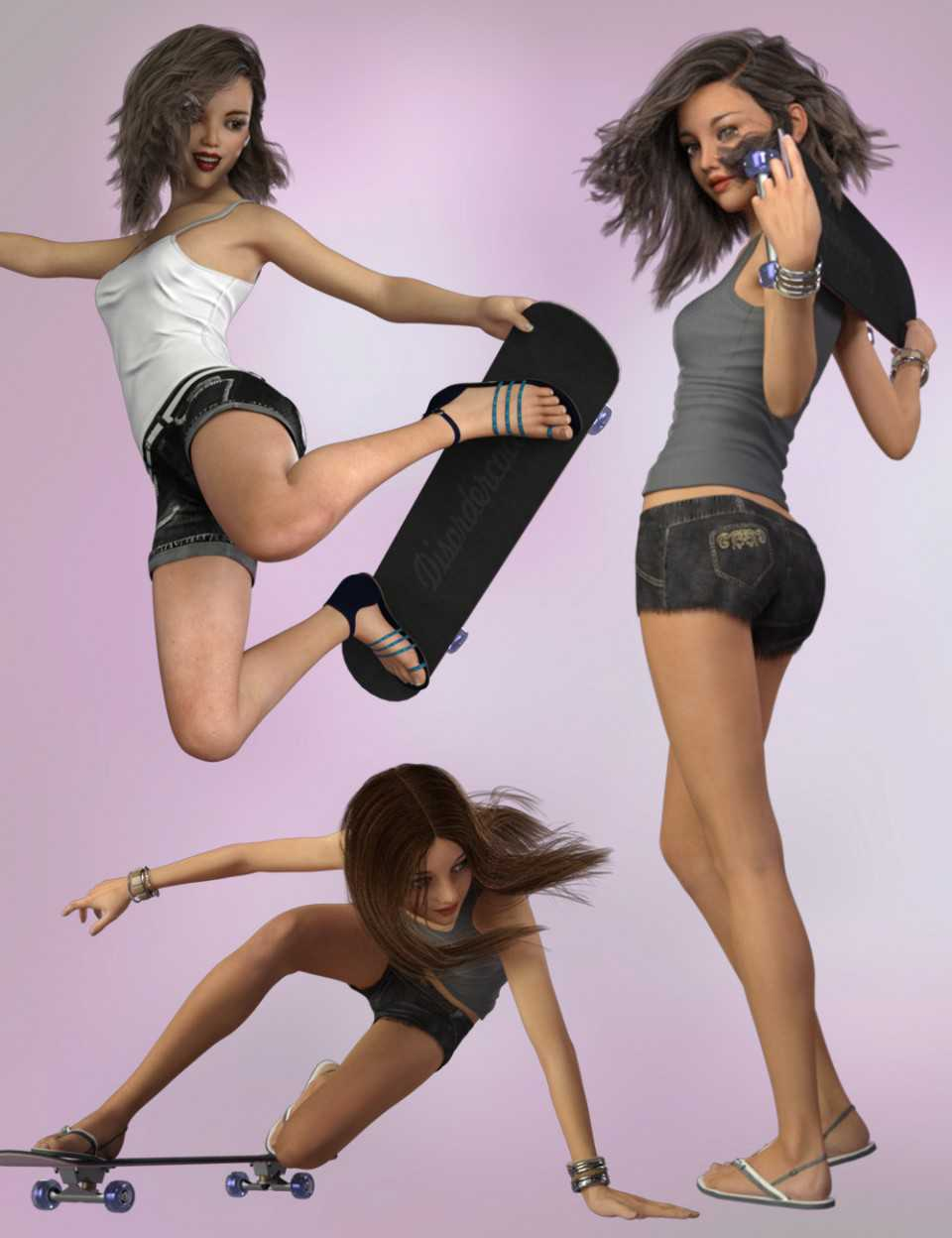 Skateboard and Poses for Genesis 8 Female and Teen Josie 7 and 8