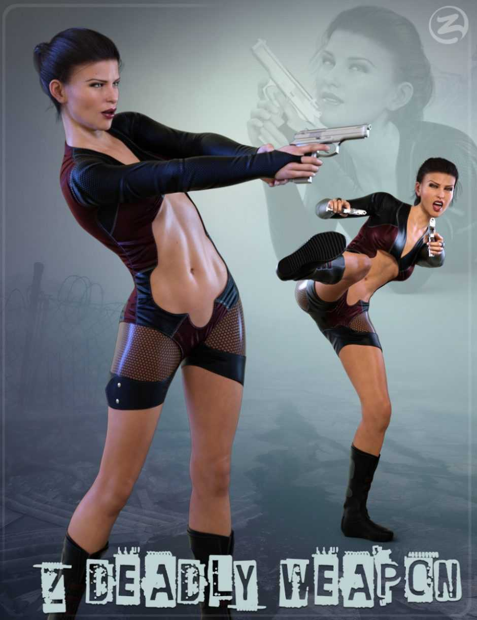 Z Deadly Weapon – Gun and Poses for Genesis 8 Female and Victoria 8