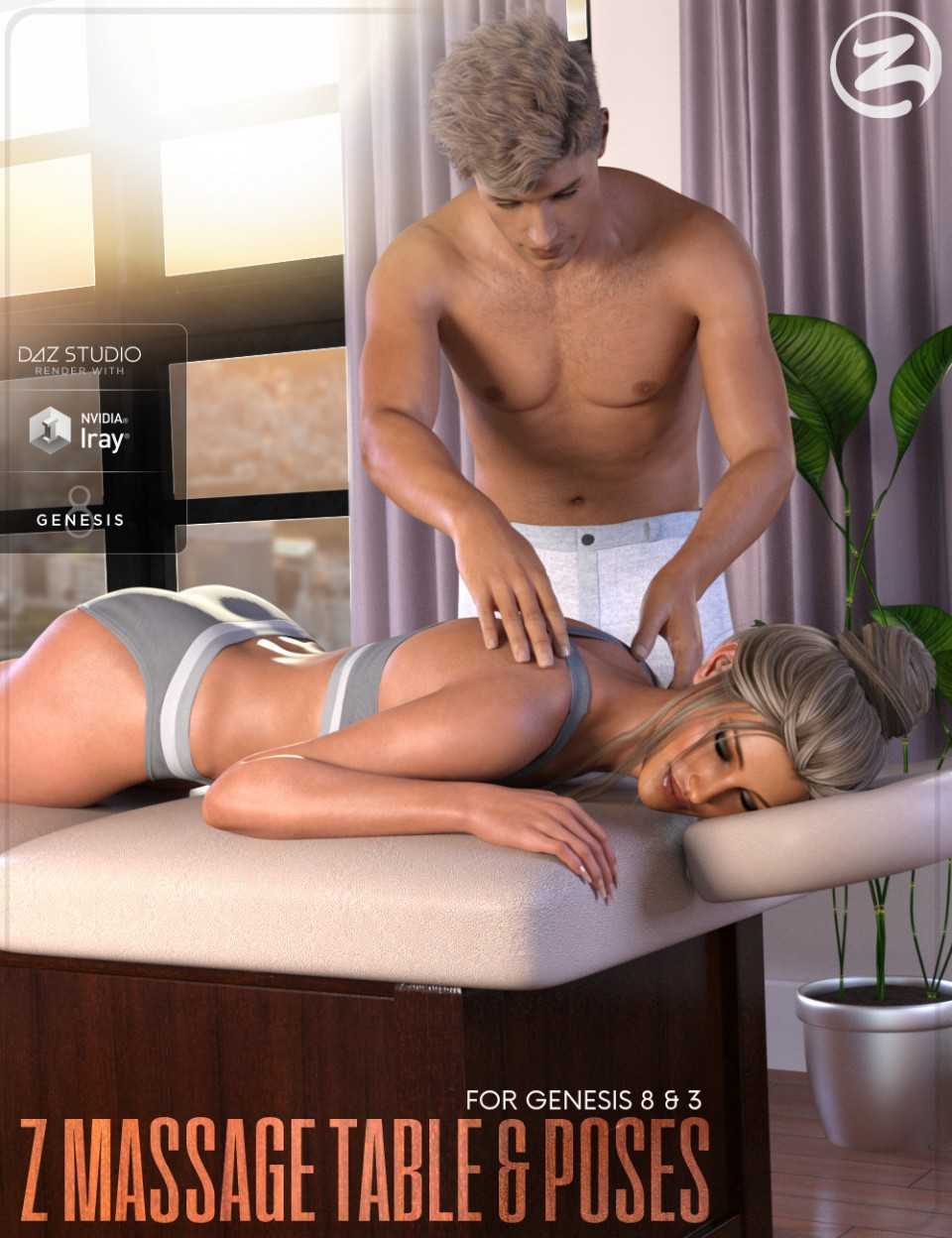 Z Massage Table – Prop and Poses for Genesis 3 & 8
