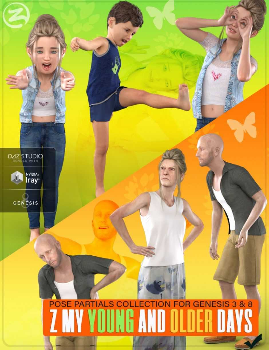 Z My Young and Older Days – Poses and Partials for Genesis 3 and 8