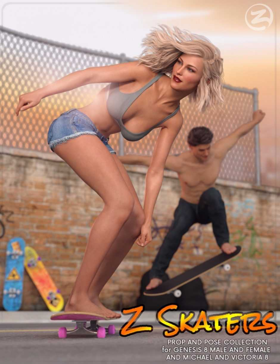 Z Skaters – Prop and Poses for Genesis 8 Male(s) and Female(s)