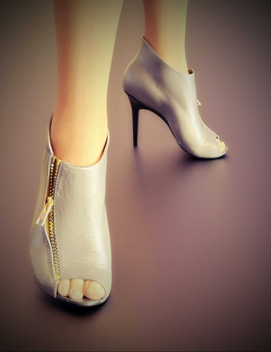 Zipper Ankle Boots for Genesis 3 Female(s)