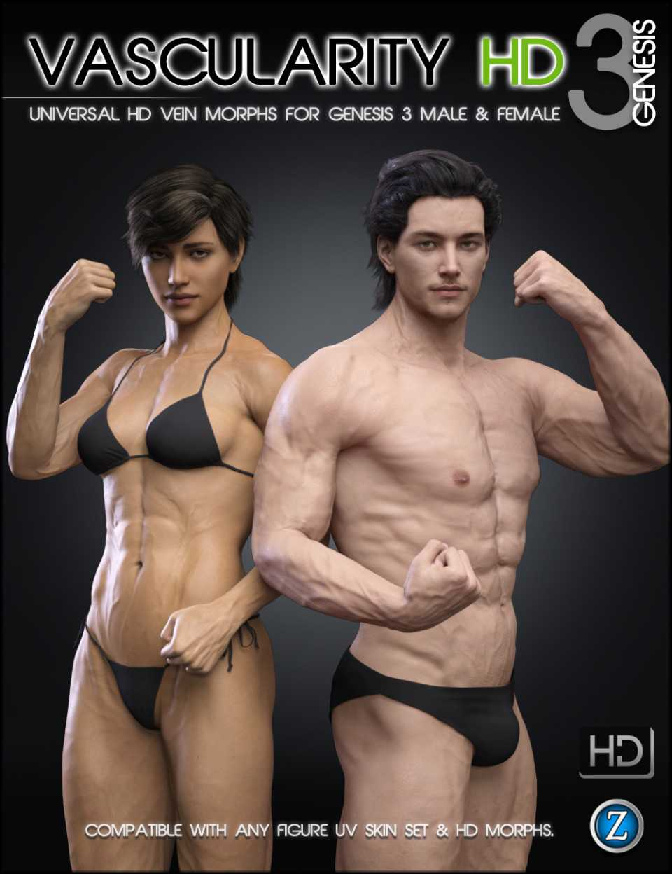 Vascularity HD for Genesis 3 Female(s) and Genesis 3 Male(s)