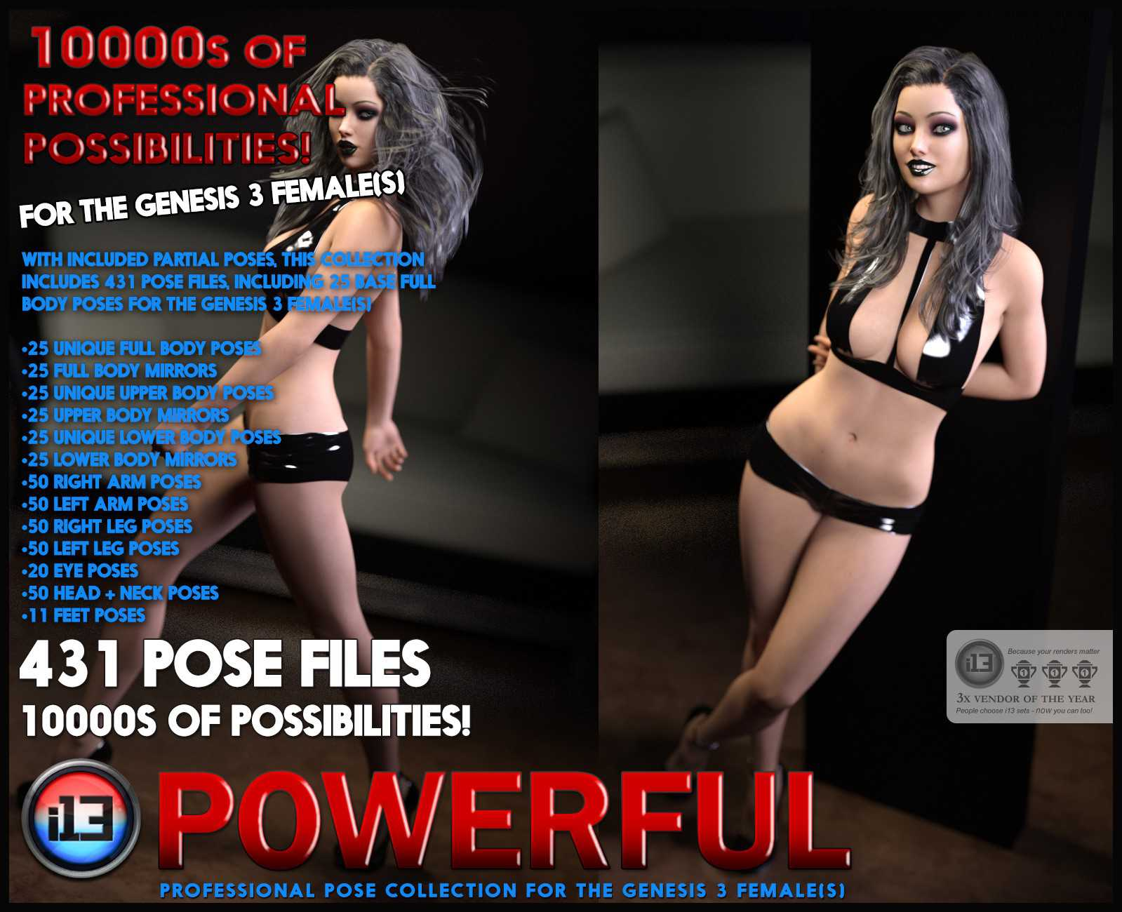 i13 POWERFUL Mega Organized Pose Collection for the Genesis 3 Female(s)