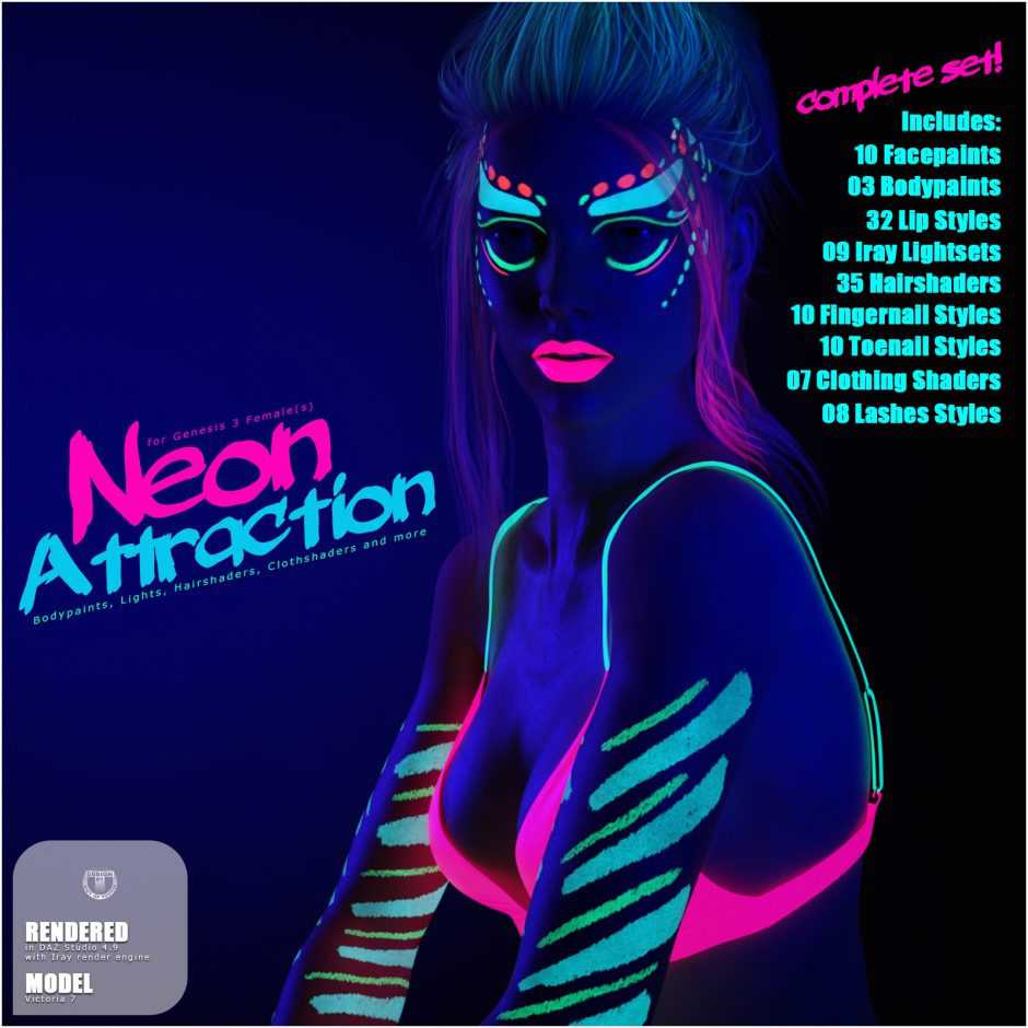 Neon Attraction Bodypaints, Lights and Shaders for Genesis 3 Females