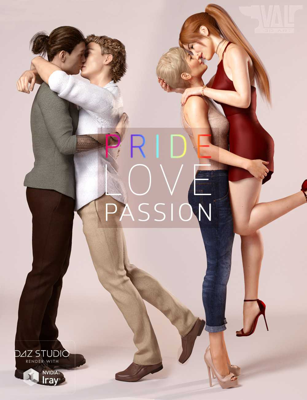 Pride, Love and Passion Poses for Genesis8 Female and Male