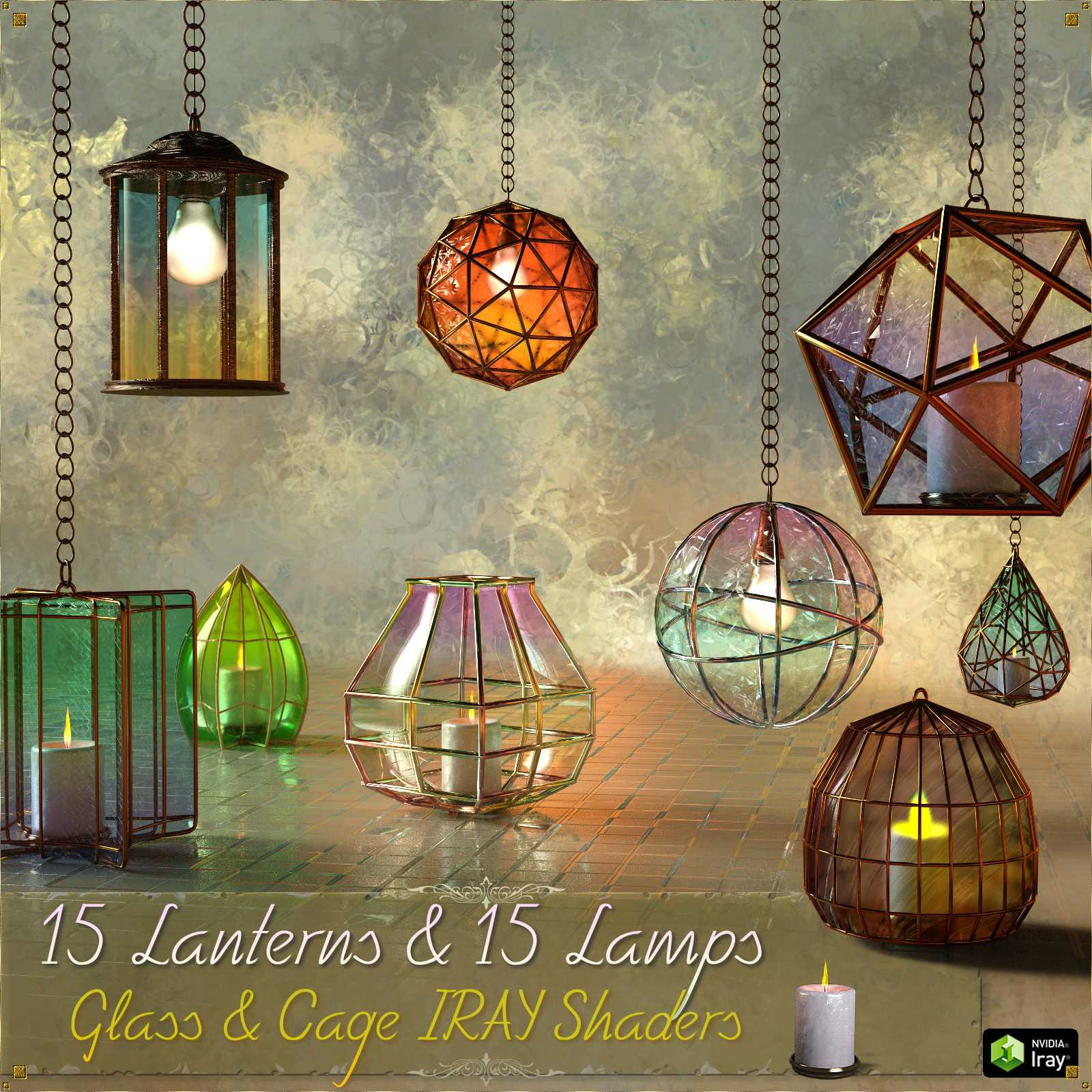 Caged Lanterns and Lamps for DAZ