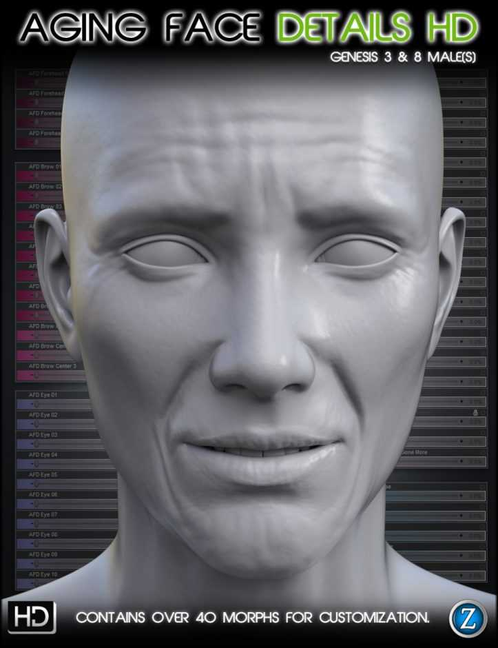 Aging Face Details HD for Genesis 3 and 8 Male(s)