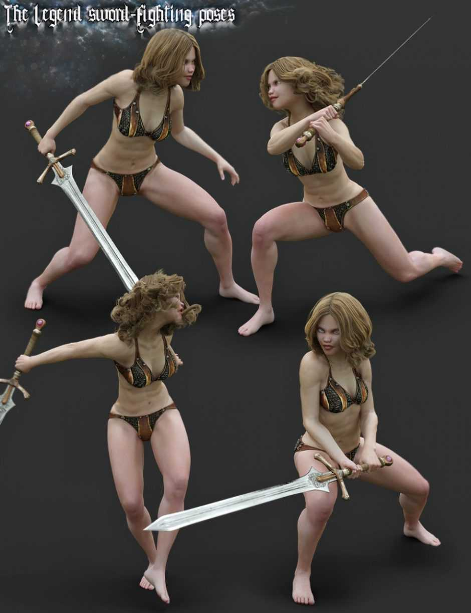 The Legend Sword – Fighting Poses for Genesis 3 and 8 Female