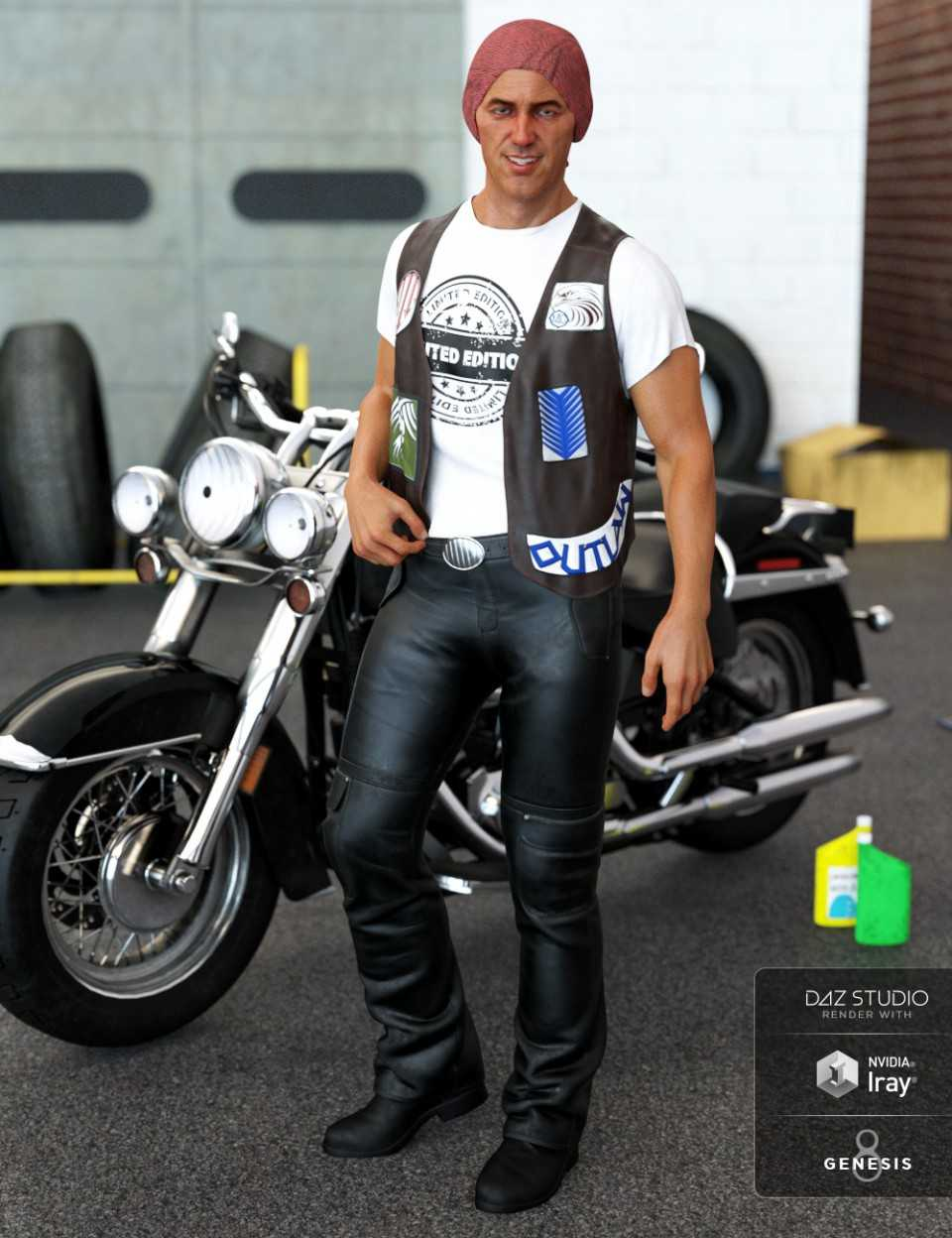 dForce Biker Outfit for Genesis 8 Male(s)