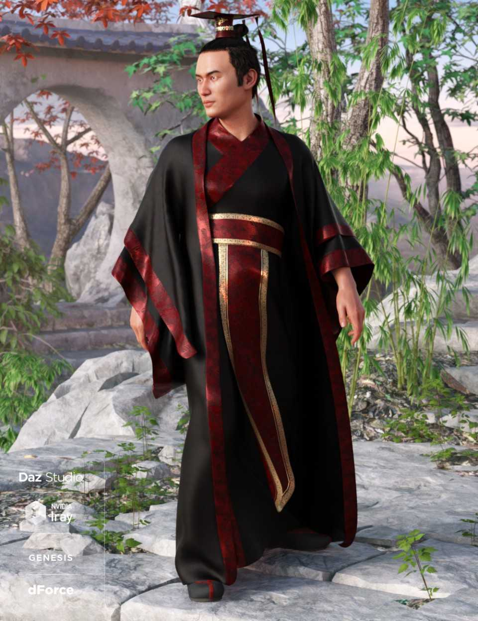 dForce Hanfu Outfit for Genesis 8 Male(s)