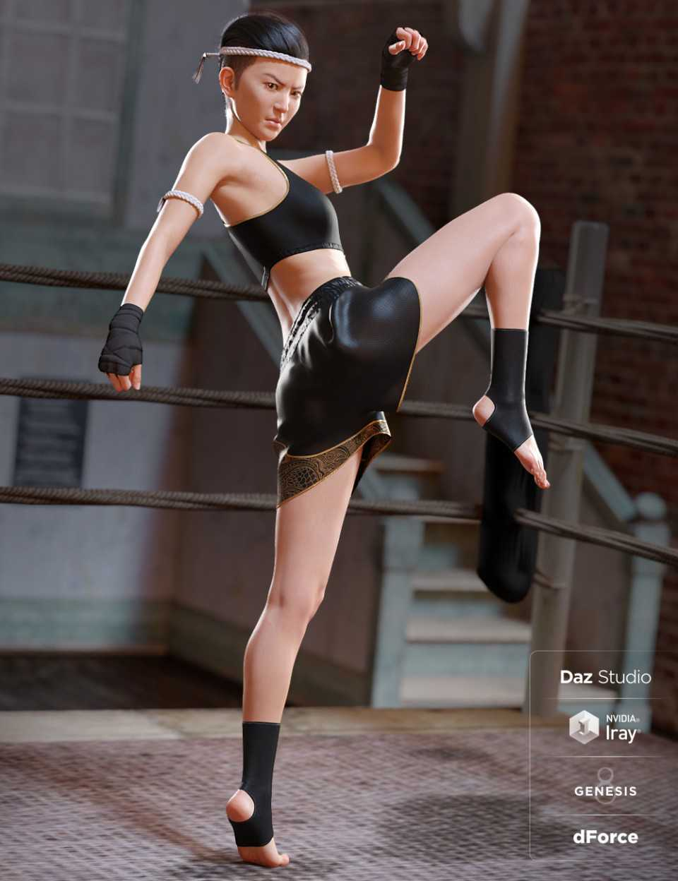 dForce Muay Thai Outfit for Genesis 8 Female(s)