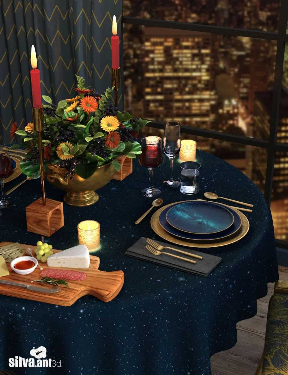 Gilded Night Table Set