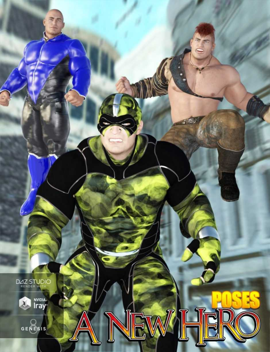 Hero Poses for The Brute 8 and Genesis 8 Male