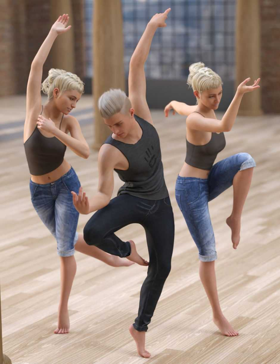 Modern Dance Troupe Poses for Genesis 8