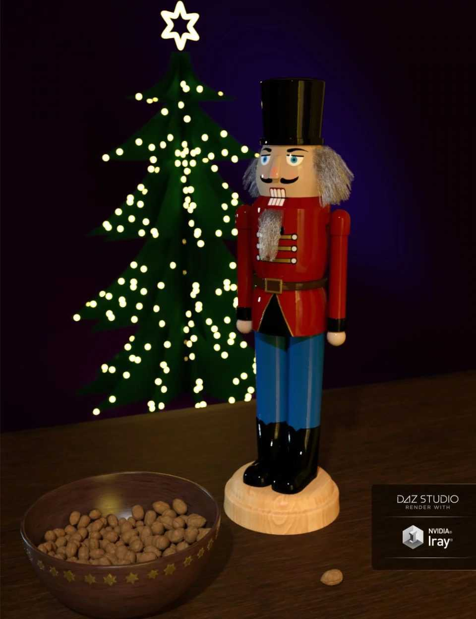 Nutcracker with Strand Based Hair and Bowl with Walnuts