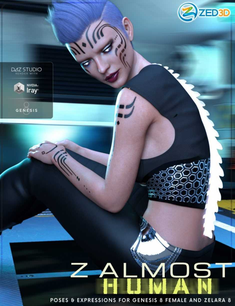 Z Almost Human – Poses and Expressions for Genesis 8 Female and Zelara 8