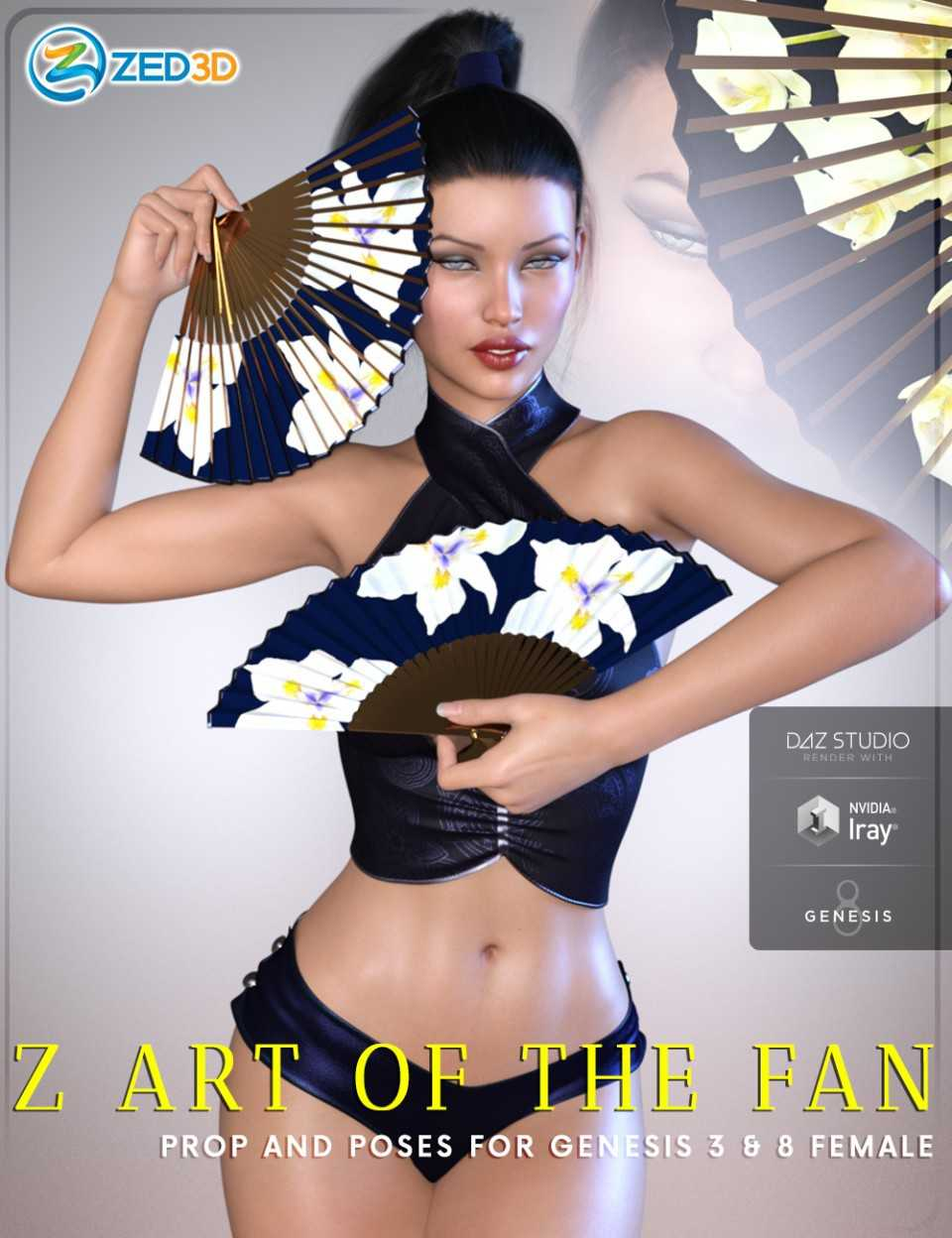 Z Art of the Fan – Prop and Poses for Genesis 3 and 8 Female