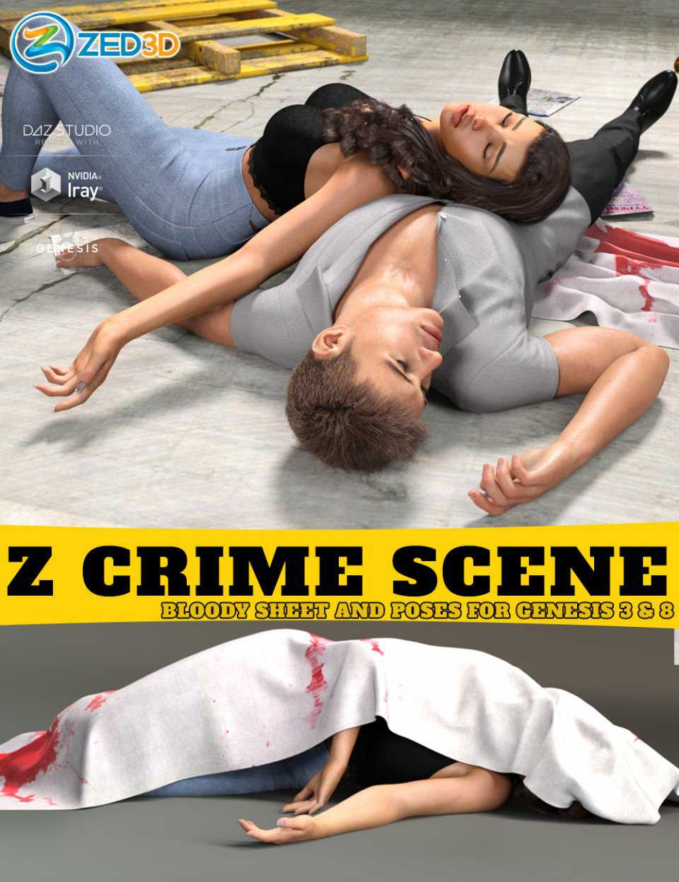 Z Crime Scene Bloody Sheet and Poses for Genesis 3 and 8