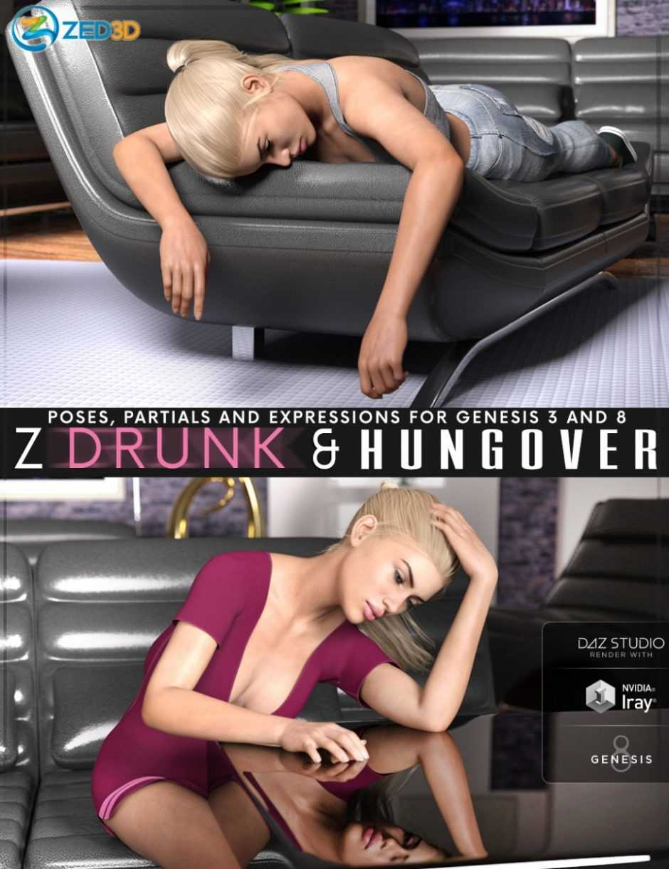 Z Drunk and Hungover – Poses with Partials and Expressions for Genesis 3 and 8