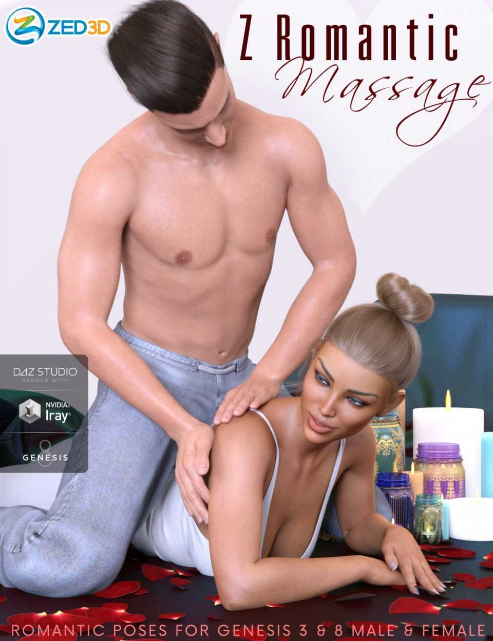 Z Romantic Massage Couple Poses for Genesis 3 and 8