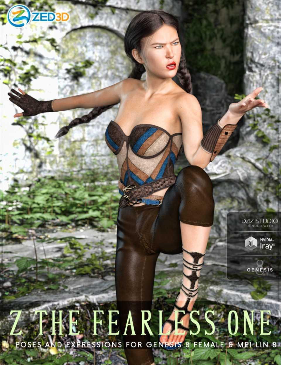 Z The Fearless One – Poses and Expressions for Mei Lin 8 and Genesis 8 Female